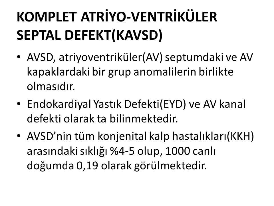 KOMPLET ATRİYO-VENTRİKÜLER SEPTAL DEFEKT(KAVSD) AVSD, atriyoventriküler(AV) septumdaki ve AV kapaklardaki bir grup anomalilerin birlikte olmasıdır. En