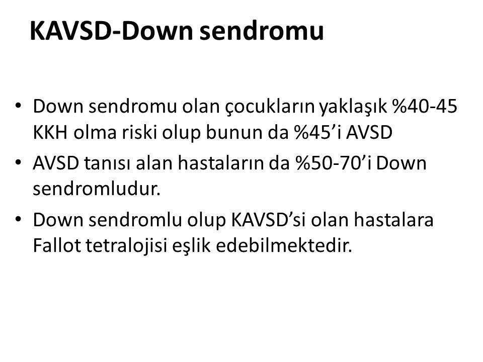KAVSD-Down sendromu Down sendromu olan çocukların yaklaşık %40-45 KKH olma riski olup bunun da %45'i AVSD AVSD tanısı alan hastaların da %50-70'i Down