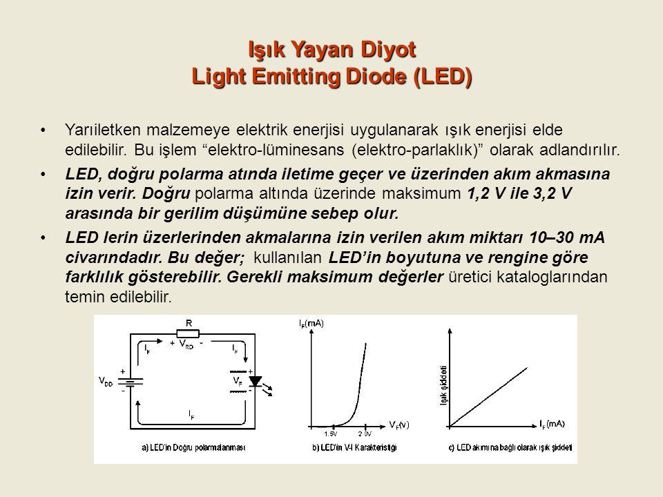 """Işık Yayan Diyot Light Emitting Diode (LED) Yarıiletken malzemeye elektrik enerjisi uygulanarak ışık enerjisi elde edilebilir. Bu işlem """"elektro-lümin"""