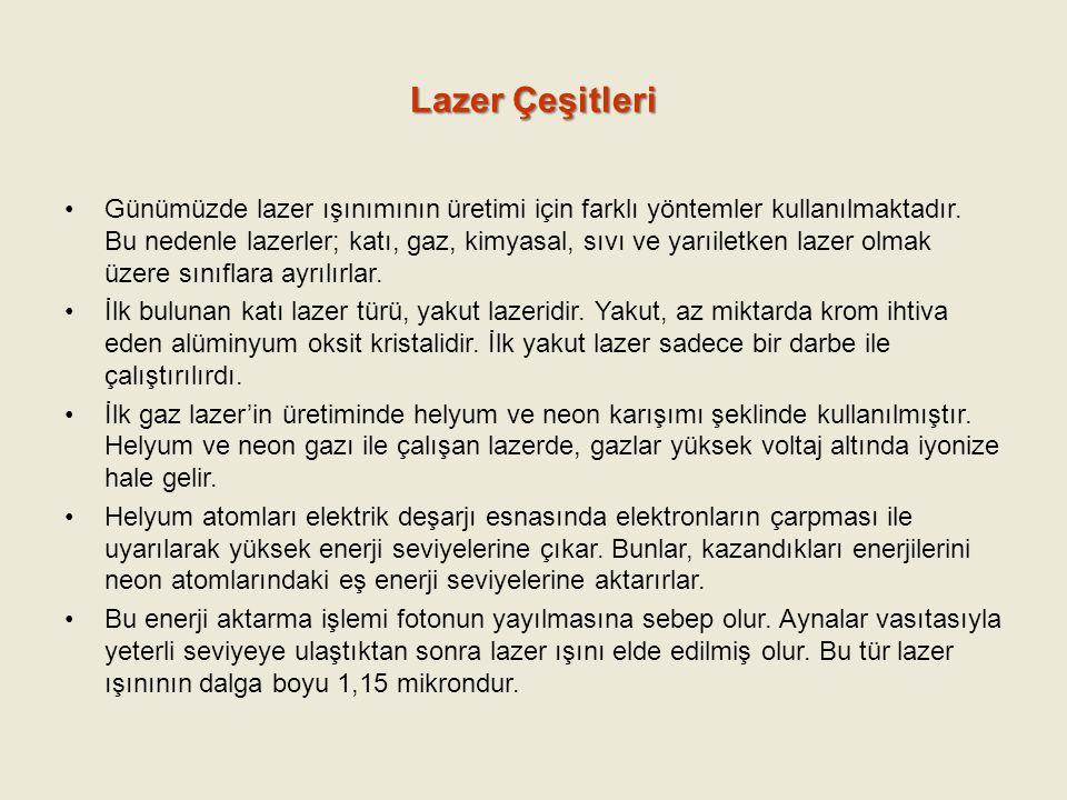 Lazer Çeşitleri Günümüzde lazer ışınımının üretimi için farklı yöntemler kullanılmaktadır. Bu nedenle lazerler; katı, gaz, kimyasal, sıvı ve yarıiletk