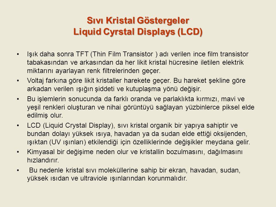 Sıvı Kristal Göstergeler Liquid Cyrstal Displays (LCD) Işık daha sonra TFT (Thin Film Transistor ) adı verilen ince film transistor tabakasından ve ar