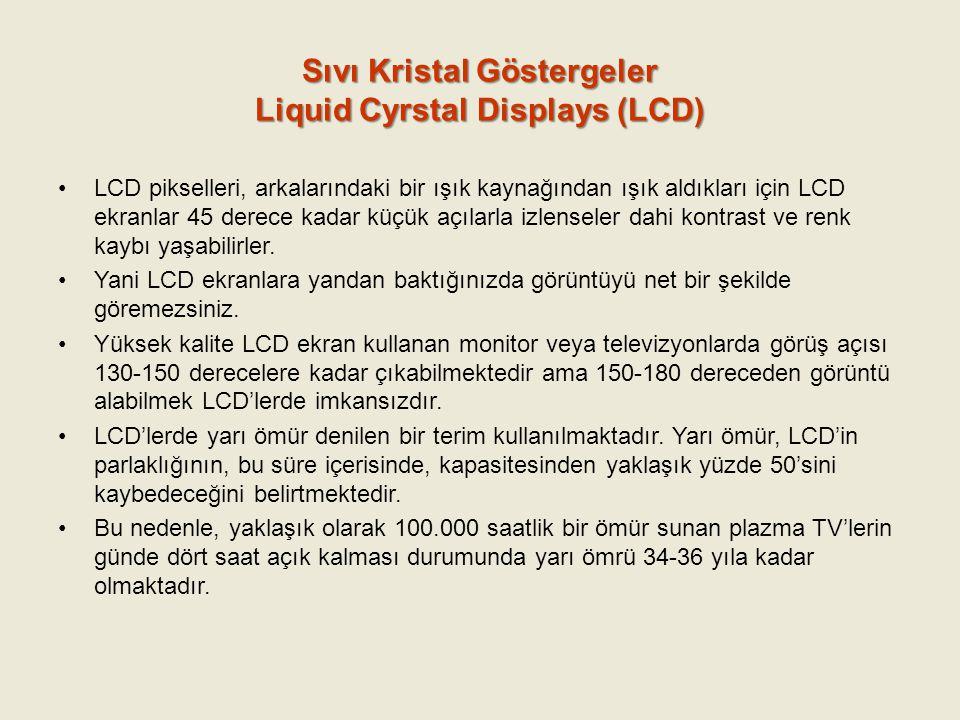 Sıvı Kristal Göstergeler Liquid Cyrstal Displays (LCD) LCD pikselleri, arkalarındaki bir ışık kaynağından ışık aldıkları için LCD ekranlar 45 derece k