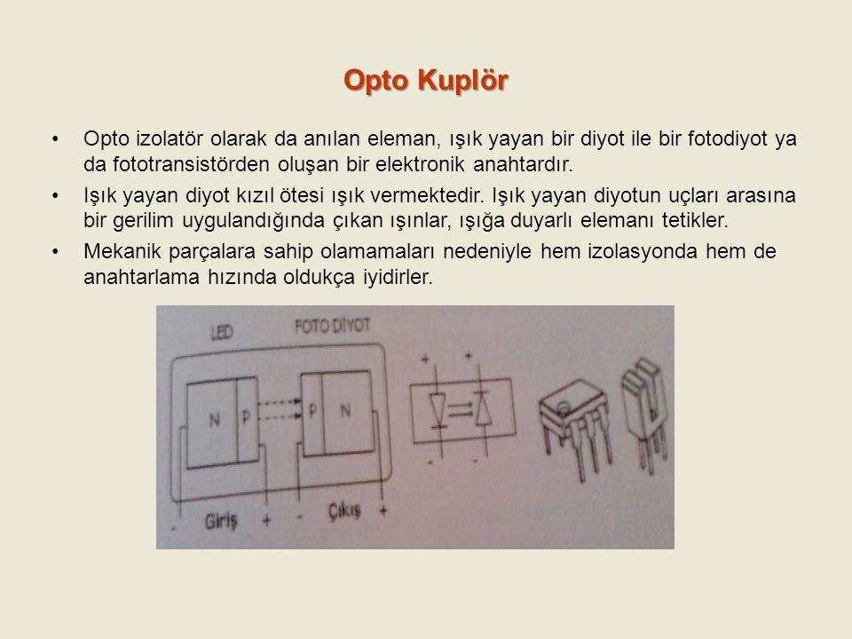 Opto Kuplör Opto izolatör olarak da anılan eleman, ışık yayan bir diyot ile bir fotodiyot ya da fototransistörden oluşan bir elektronik anahtardır. Iş