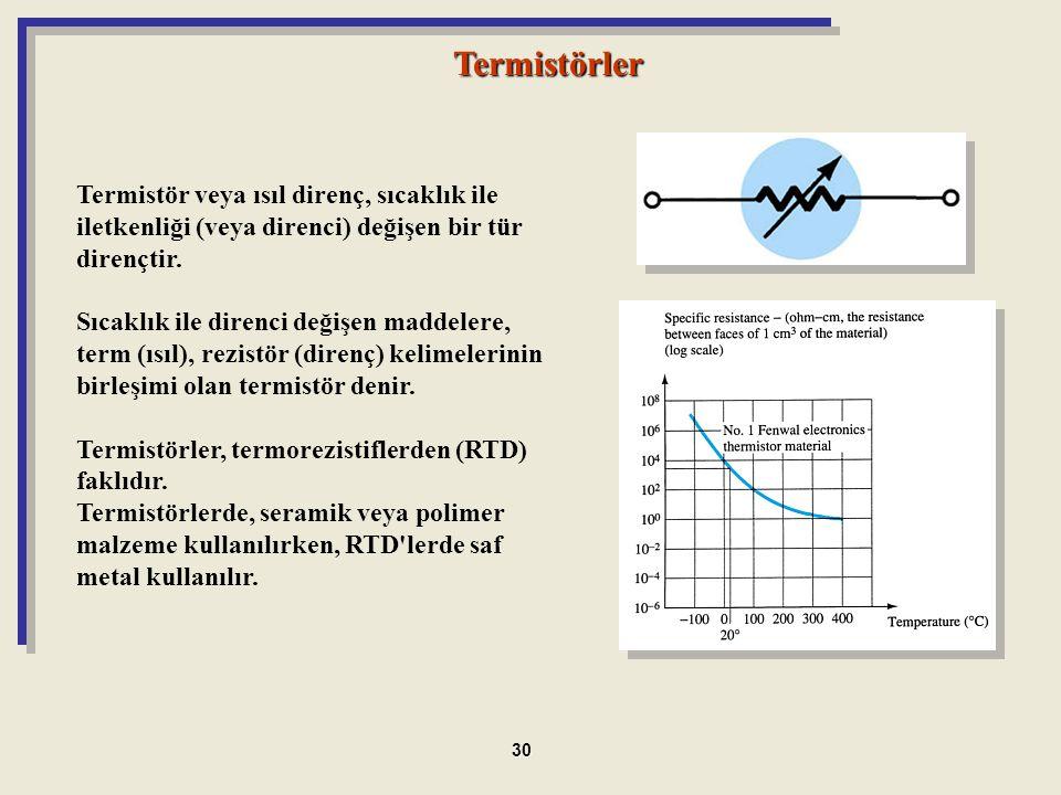 Termistörler Termistör veya ısıl direnç, sıcaklık ile iletkenliği (veya direnci) değişen bir tür dirençtir. Sıcaklık ile direnci değişen maddelere, te