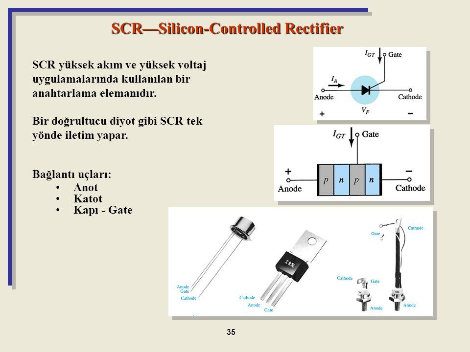 SCR—Silicon-Controlled Rectifier SCR yüksek akım ve yüksek voltaj uygulamalarında kullanılan bir anahtarlama elemanıdır. Bir doğrultucu diyot gibi SCR
