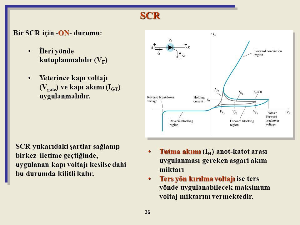 SCR SCR yukarıdaki şartlar sağlanıp birkez iletime geçtiğinde, uygulanan kapı voltajı kesilse dahi bu durumda kilitli kalır. Tutma akımıTutma akımı (I