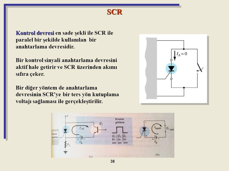 Kontrol devresi Kontrol devresi en sade şekli ile SCR ile paralel bir şekilde kullanılan bir anahtarlama devresidir. Bir kontrol sinyali anahtarlama d