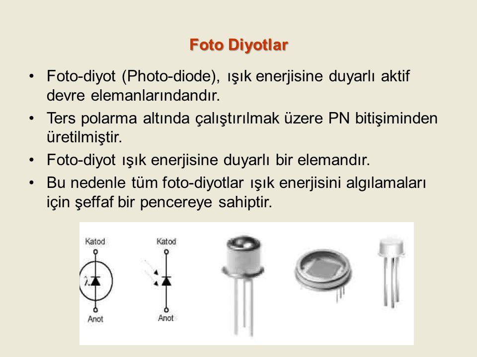 Foto Diyotlar Foto-diyot (Photo-diode), ışık enerjisine duyarlı aktif devre elemanlarındandır. Ters polarma altında çalıştırılmak üzere PN bitişiminde