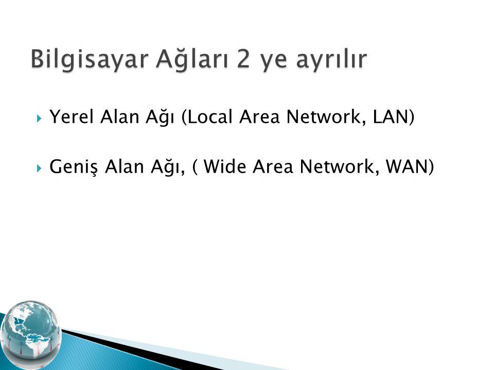  Yerel Alan Ağı (Local Area Network, LAN)  Geniş Alan Ağı, ( Wide Area Network, WAN)