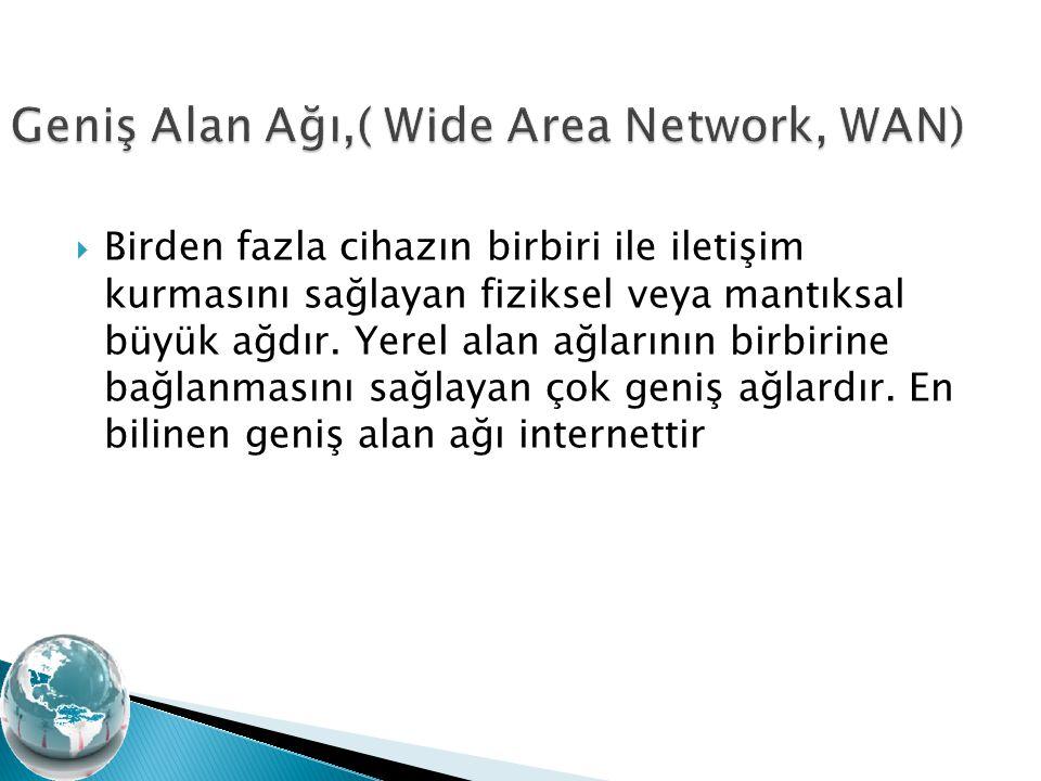 Birden fazla cihazın birbiri ile iletişim kurmasını sağlayan fiziksel veya mantıksal büyük ağdır. Yerel alan ağlarının birbirine bağlanmasını sağlay