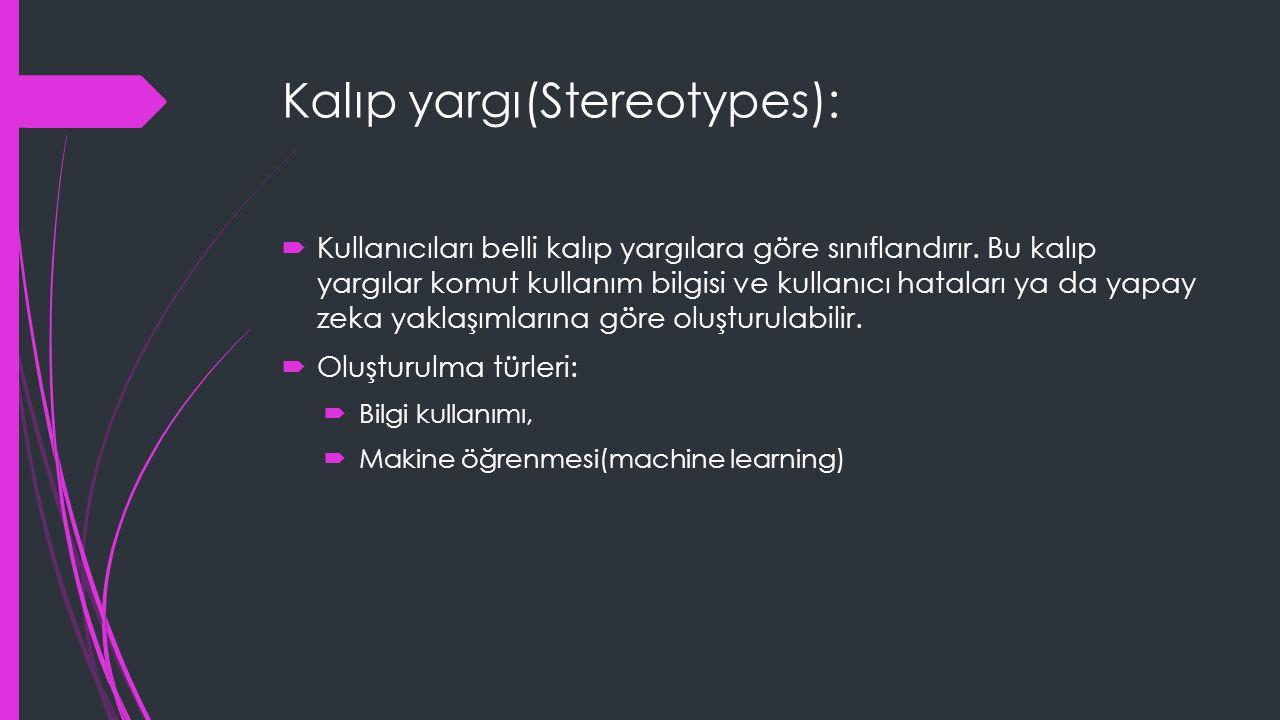 Kalıp yargı(Stereotypes):  Kullanıcıları belli kalıp yargılara göre sınıflandırır. Bu kalıp yargılar komut kullanım bilgisi ve kullanıcı hataları ya