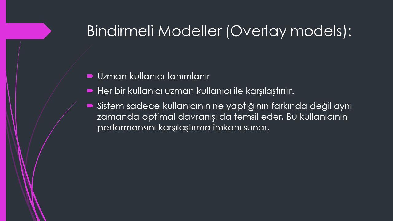 Bindirmeli Modeller (Overlay models):  Uzman kullanıcı tanımlanır  Her bir kullanıcı uzman kullanıcı ile karşılaştırılır.  Sistem sadece kullanıcın