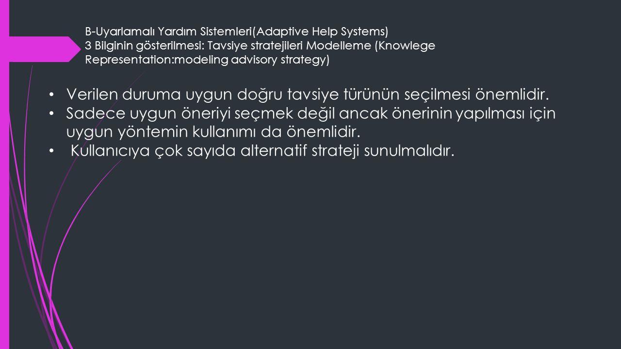 B-Uyarlamalı Yardım Sistemleri(Adaptive Help Systems) 3 Bilginin gösterilmesi: Tavsiye stratejileri Modelleme (Knowlege Representation:modeling advisory strategy) Verilen duruma uygun doğru tavsiye türünün seçilmesi önemlidir.
