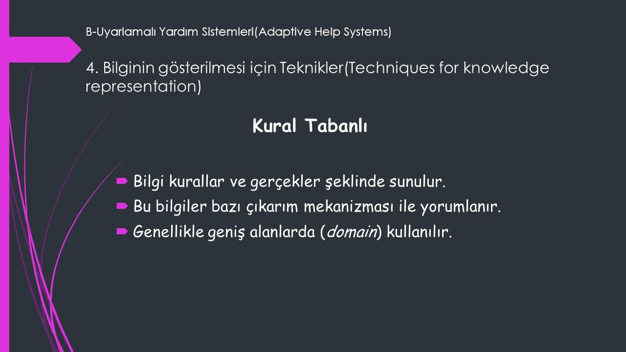 B-Uyarlamalı Yardım Sistemleri(Adaptive Help Systems) 4. Bilginin gösterilmesi için Teknikler(Techniques for knowledge representation) Kural Tabanlı 