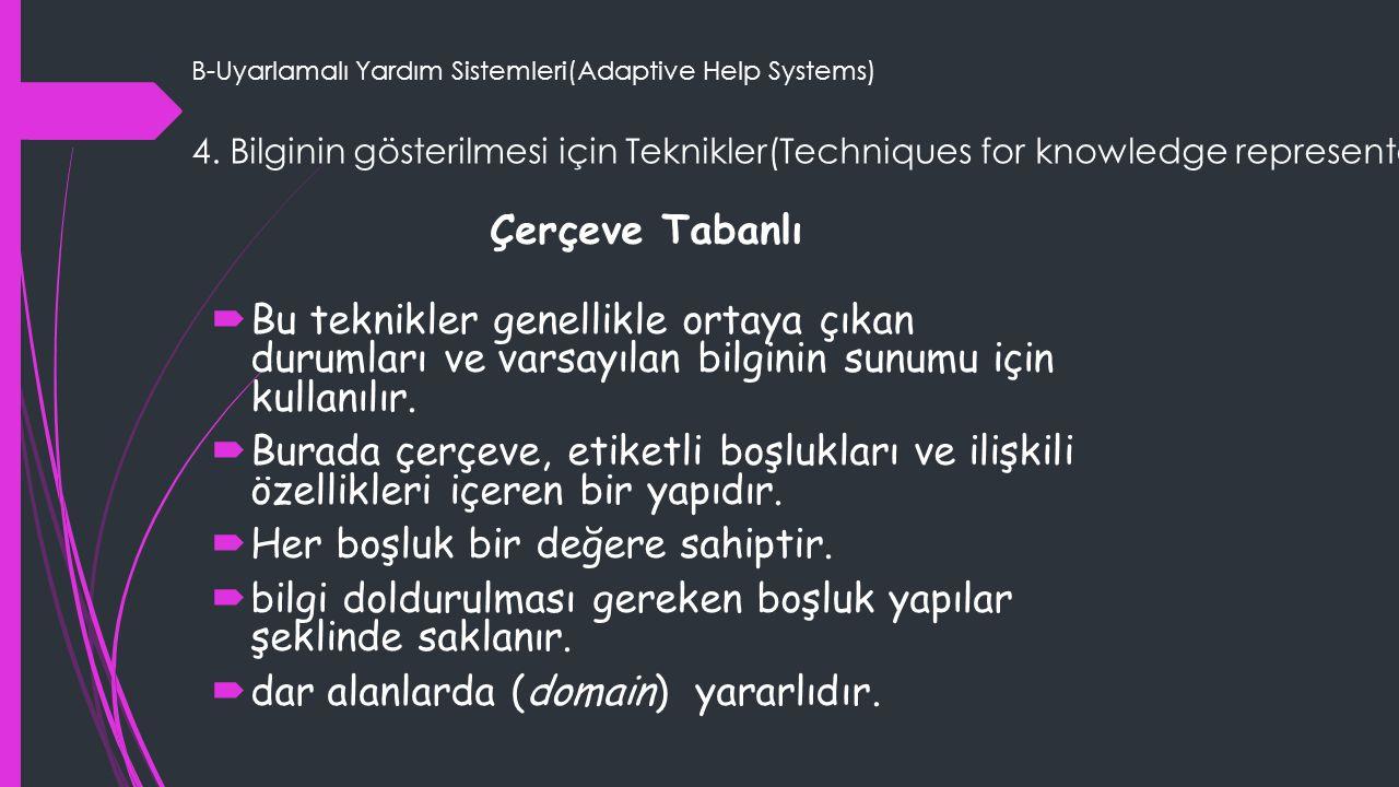 B-Uyarlamalı Yardım Sistemleri(Adaptive Help Systems) 4. Bilginin gösterilmesi için Teknikler(Techniques for knowledge representation) Çerçeve Tabanlı