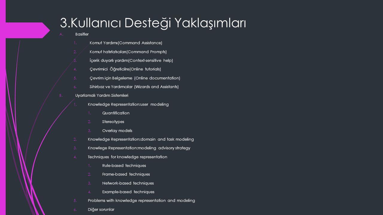 3.Kullanıcı Desteği Yaklaşımları A.Basitler 1.Komut Yardımı(Command Assistance) 2.Komut hatırlatıcıları(Command Prompts) 3.İçerik duyarlı yardım(Context-sensitive help) 4.Çevrimici Öğreticilre(Online tutorials) 5.Çevrim için Belgeleme (Online documentation) 6.Sihirbaz ve Yardımcılar (Wizards and Assistants) B.Uyarlamalı Yardım Sistemleri 1.Knowledge Representation:user modeling 1.Quantification 2.Stereotypes 3.Overlay models 2.Knowledge Representation:domain and task modeling 3.Knowlege Representation:modeling advisory strategy 4.Techniques for knowledge representation 1.Rule-based techniques 2.Frame-based techniques 3.Network-based techniques 4.Example-based techniques 5.Problems with knowledge representation and modeling 6.Diğer sorunlar