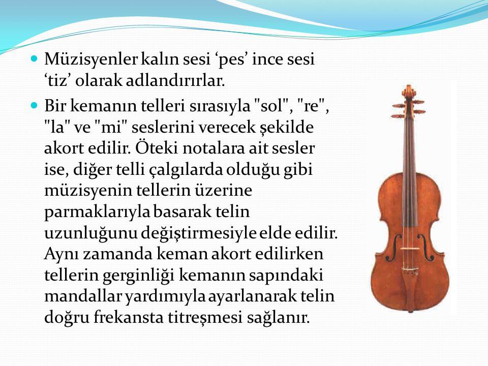 Müzisyenler kalın sesi 'pes' ince sesi 'tiz' olarak adlandırırlar. Bir kemanın telleri sırasıyla