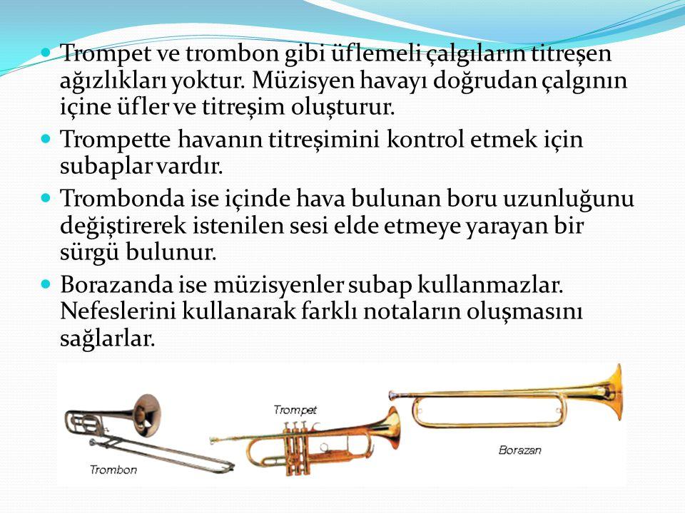 Trompet ve trombon gibi üflemeli çalgıların titreşen ağızlıkları yoktur. Müzisyen havayı doğrudan çalgının içine üfler ve titreşim oluşturur. Trompett