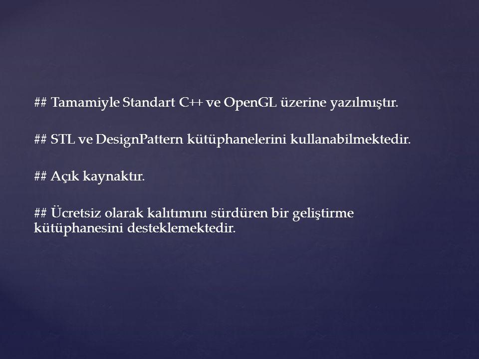 ## Tamamiyle Standart C++ ve OpenGL üzerine yazılmıştır.