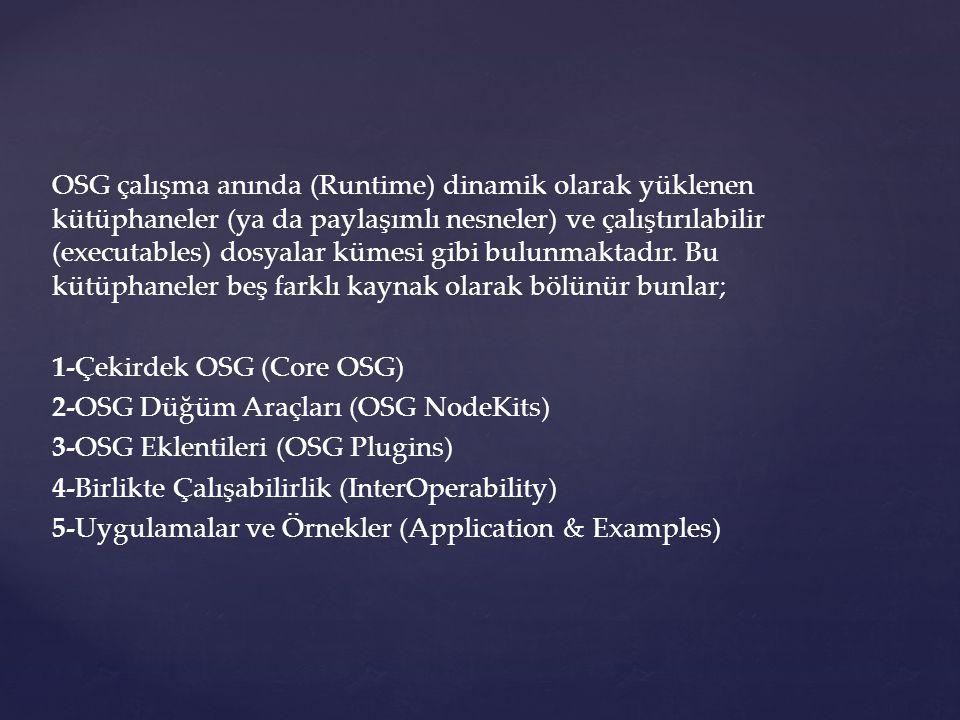 OSG çalışma anında (Runtime) dinamik olarak yüklenen kütüphaneler (ya da paylaşımlı nesneler) ve çalıştırılabilir (executables) dosyalar kümesi gibi bulunmaktadır.