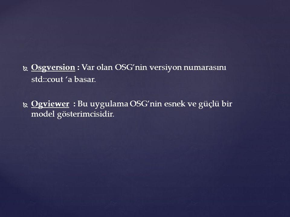   Osgversion : Var olan OSG'nin versiyon numarasını std::cout 'a basar.