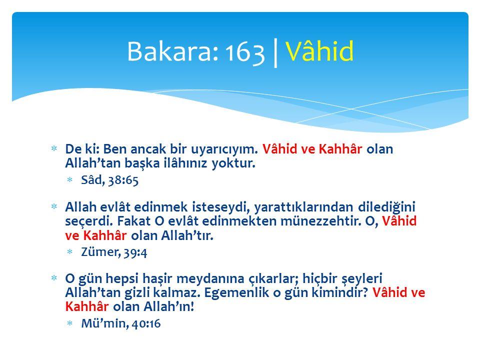  De ki: Ben ancak bir uyarıcıyım.Vâhid ve Kahhâr olan Allah'tan başka ilâhınız yoktur.