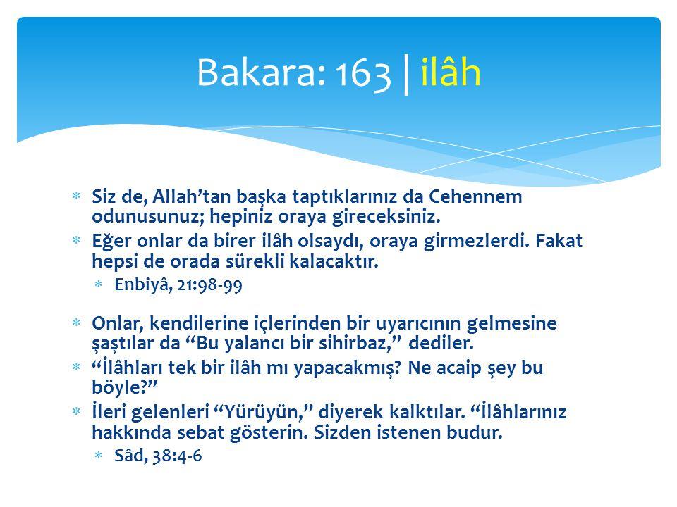  Siz de, Allah'tan başka taptıklarınız da Cehennem odunusunuz; hepiniz oraya gireceksiniz.