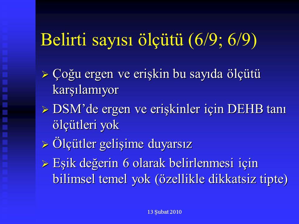 13 Şubat 2010 Belirti sayısı ölçütü (6/9; 6/9)  Çoğu ergen ve erişkin bu sayıda ölçütü karşılamıyor  DSM'de ergen ve erişkinler için DEHB tanı ölçüt