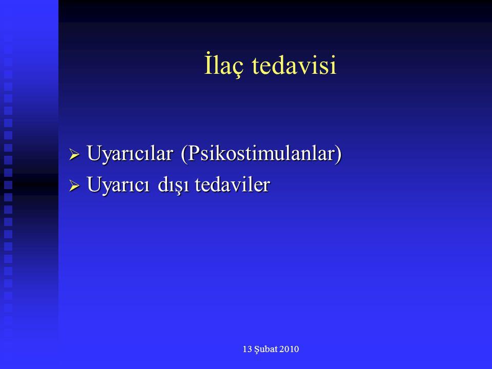 13 Şubat 2010 İlaç tedavisi  Uyarıcılar (Psikostimulanlar)  Uyarıcı dışı tedaviler