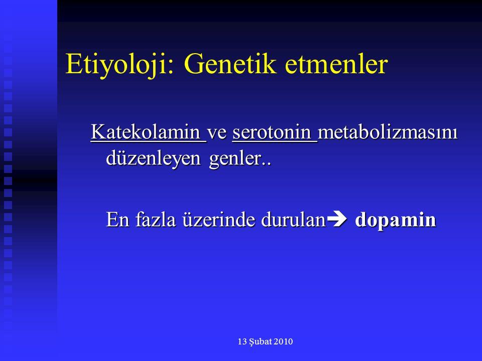 13 Şubat 2010 Etiyoloji: Genetik etmenler Katekolamin ve serotonin metabolizmasını düzenleyen genler.. En fazla üzerinde durulan  dopamin
