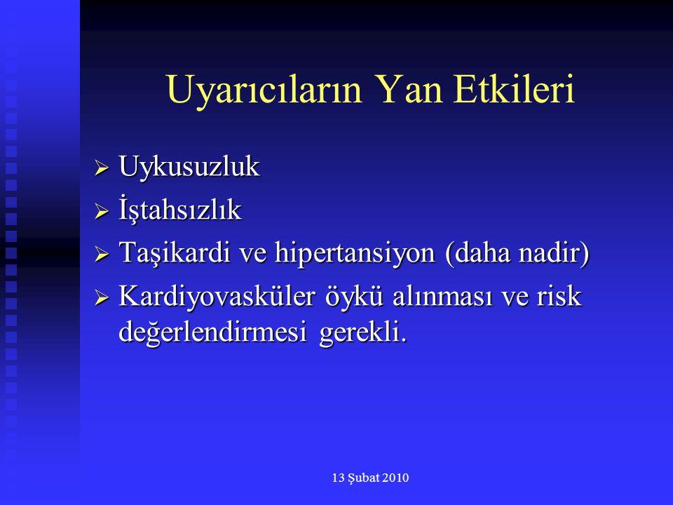 13 Şubat 2010 Uyarıcıların Yan Etkileri  Uykusuzluk  İştahsızlık  Taşikardi ve hipertansiyon (daha nadir)  Kardiyovasküler öykü alınması ve risk d