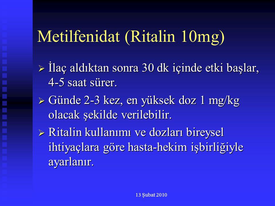 13 Şubat 2010 Metilfenidat (Ritalin 10mg)  İlaç aldıktan sonra 30 dk içinde etki başlar, 4-5 saat sürer.  Günde 2-3 kez, en yüksek doz 1 mg/kg olaca