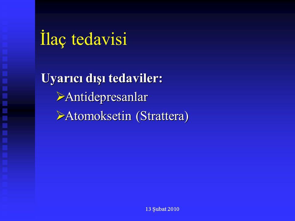 13 Şubat 2010 İlaç tedavisi Uyarıcı dışı tedaviler:  Antidepresanlar  Atomoksetin (Strattera)