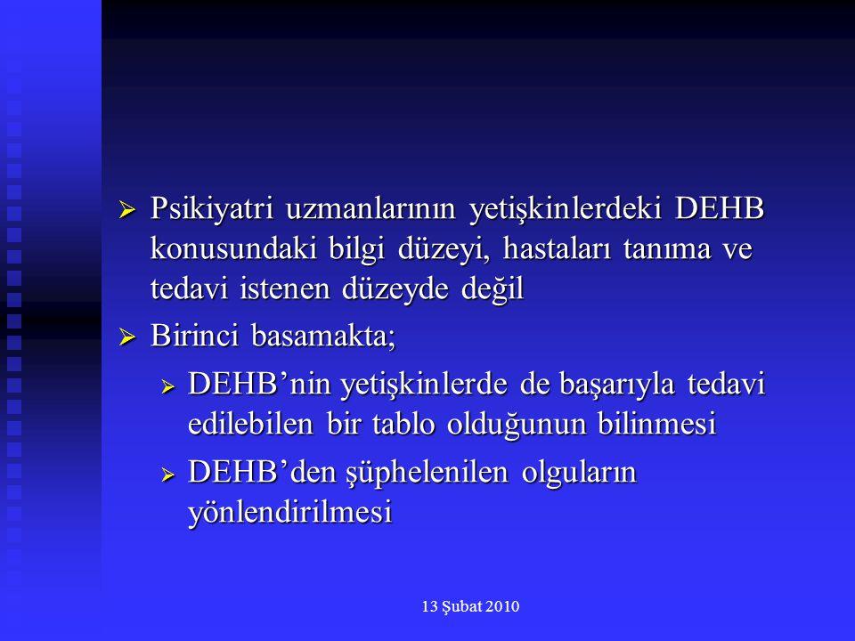 13 Şubat 2010  Psikiyatri uzmanlarının yetişkinlerdeki DEHB konusundaki bilgi düzeyi, hastaları tanıma ve tedavi istenen düzeyde değil  Birinci basa