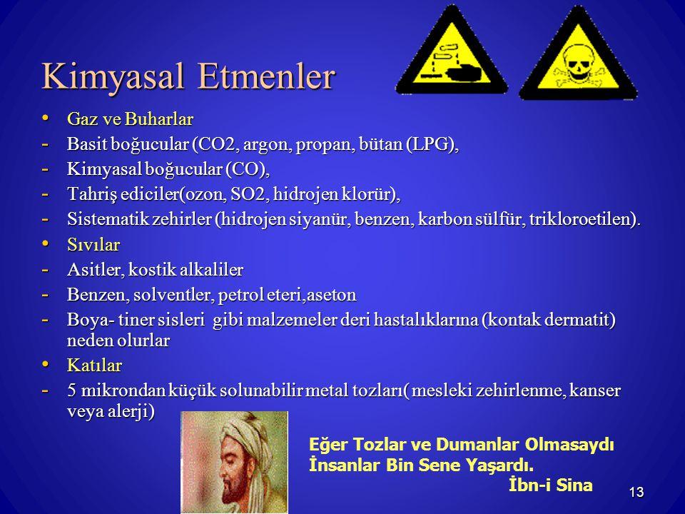 13 Kimyasal Etmenler Gaz ve Buharlar Gaz ve Buharlar - Basit boğucular (CO2, argon, propan, bütan (LPG), - Kimyasal boğucular (CO), - Tahriş ediciler(