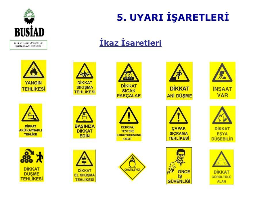 Yasaklayıcı İşaretler 5. UYARI İŞARETLERİ BURSA SANAYİCİLERİ VE İŞADAMLARI DERNEĞİ