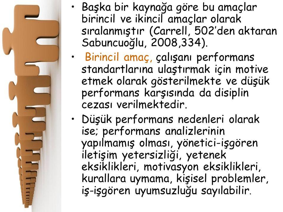 Başka bir kaynağa göre bu amaçlar birincil ve ikincil amaçlar olarak sıralanmıştır (Carrell, 502'den aktaran Sabuncuoğlu, 2008,334). Birincil amaç, ça