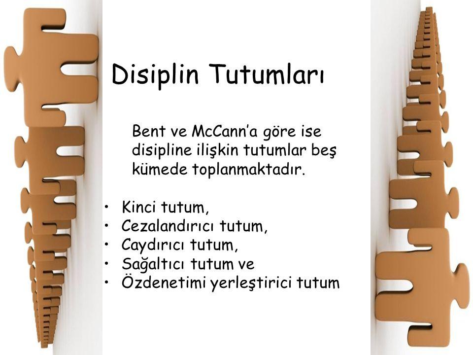 Disiplin Tutumları Bent ve McCann'a göre ise disipline ilişkin tutumlar beş kümede toplanmaktadır. Kinci tutum, Cezalandırıcı tutum, Caydırıcı tutum,