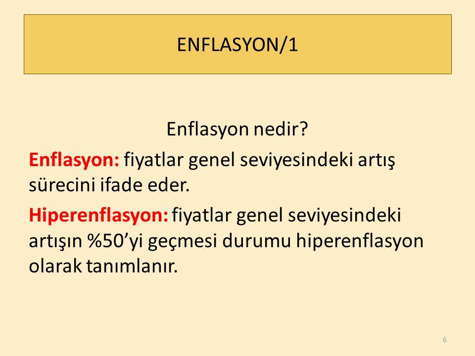 ENFLASYON/1 Enflasyon nedir.Enflasyon: fiyatlar genel seviyesindeki artış sürecini ifade eder.