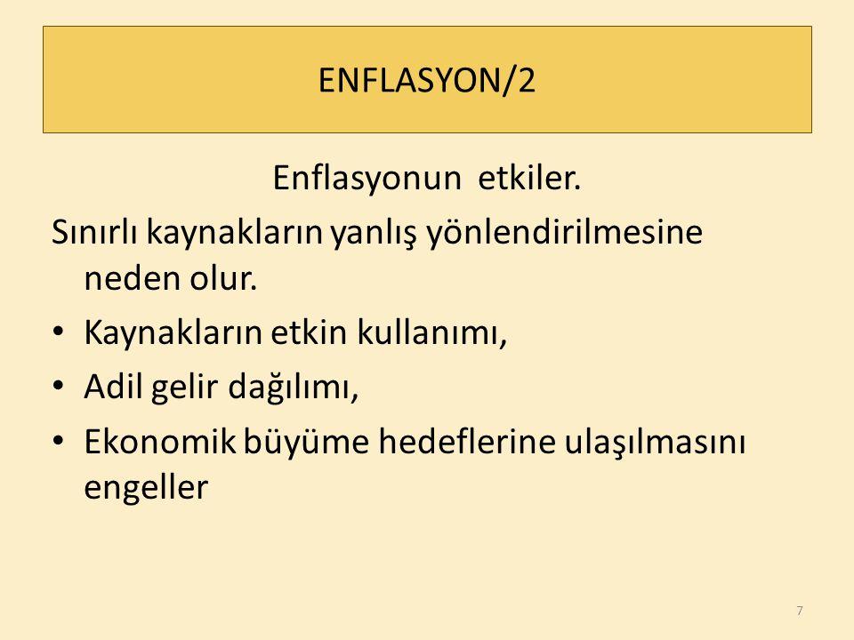 ENFLASYON/2 Enflasyonun etkiler.Sınırlı kaynakların yanlış yönlendirilmesine neden olur.
