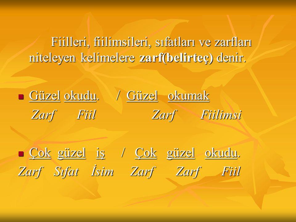 Zarfların Anlam Bakımından Çeşitleri Durum Zarfları Zaman Zarfları Miktar (Azlık-çokluk, nicelik, ölçü) Zarfları Soru Zarfları Yer-yön Zarfları