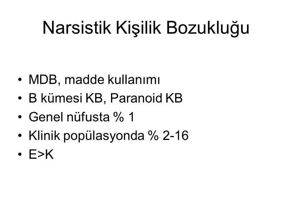 Narsistik Kişilik Bozukluğu MDB, madde kullanımı B kümesi KB, Paranoid KB Genel nüfusta % 1 Klinik popülasyonda % 2-16 E>K