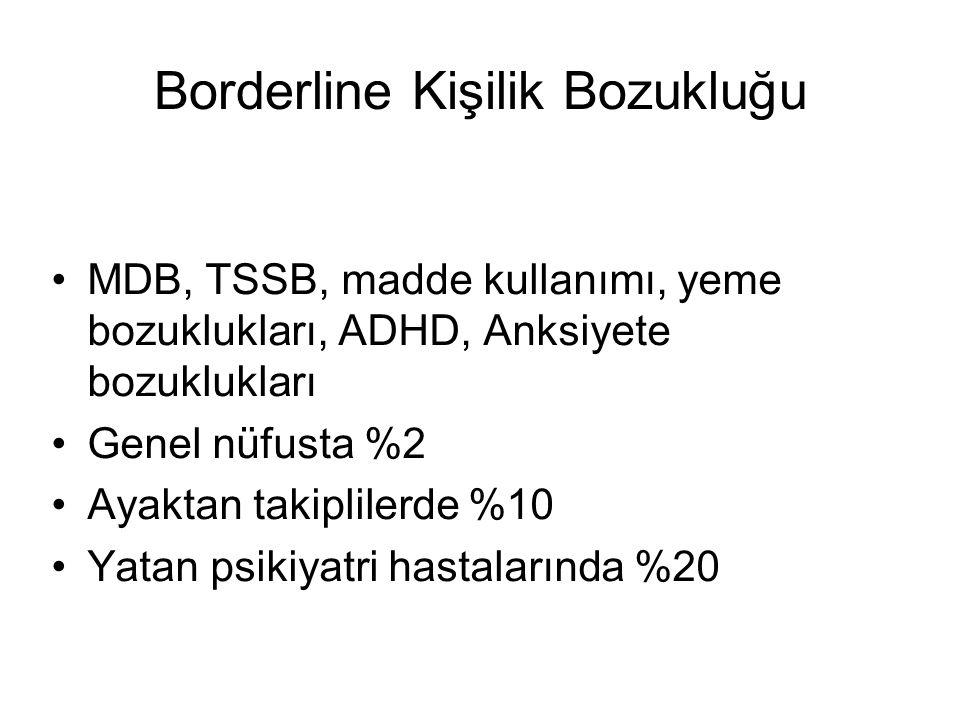 Borderline Kişilik Bozukluğu MDB, TSSB, madde kullanımı, yeme bozuklukları, ADHD, Anksiyete bozuklukları Genel nüfusta %2 Ayaktan takiplilerde %10 Yat