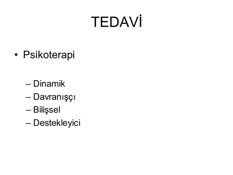 TEDAVİ Psikoterapi –Dinamik –Davranışçı –Bilişsel –Destekleyici