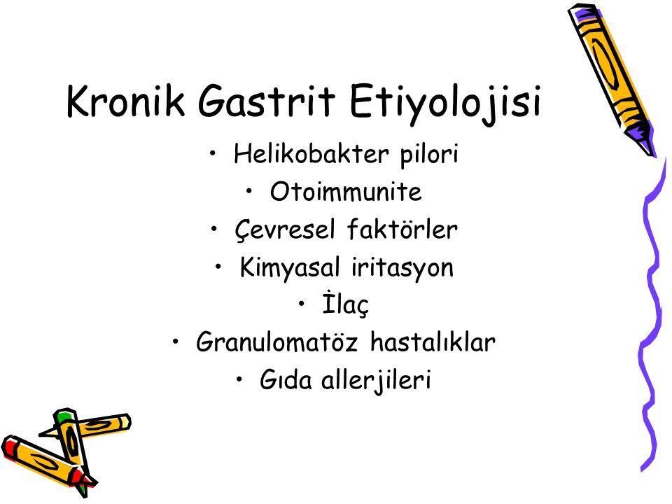 Kronik Gastrit Etiyolojisi Helikobakter pilori Otoimmunite Çevresel faktörler Kimyasal iritasyon İlaç Granulomatöz hastalıklar Gıda allerjileri