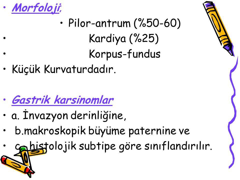 Morfoloji; Pilor-antrum (%50-60) Kardiya (%25) Korpus-fundus Küçük Kurvaturdadır. Gastrik karsinomlar a. İnvazyon derinliğine, b.makroskopik büyüme pa
