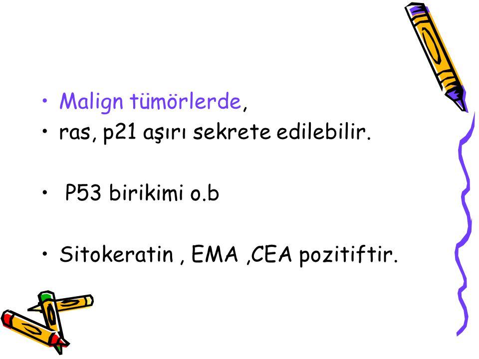 Malign tümörlerde, ras, p21 aşırı sekrete edilebilir. P53 birikimi o.b Sitokeratin, EMA,CEA pozitiftir.