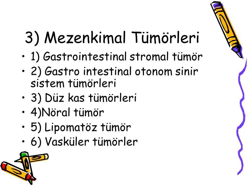 3) Mezenkimal Tümörleri 1) Gastrointestinal stromal tümör 2) Gastro intestinal otonom sinir sistem tümörleri 3) Düz kas tümörleri 4)Nöral tümör 5) Lip