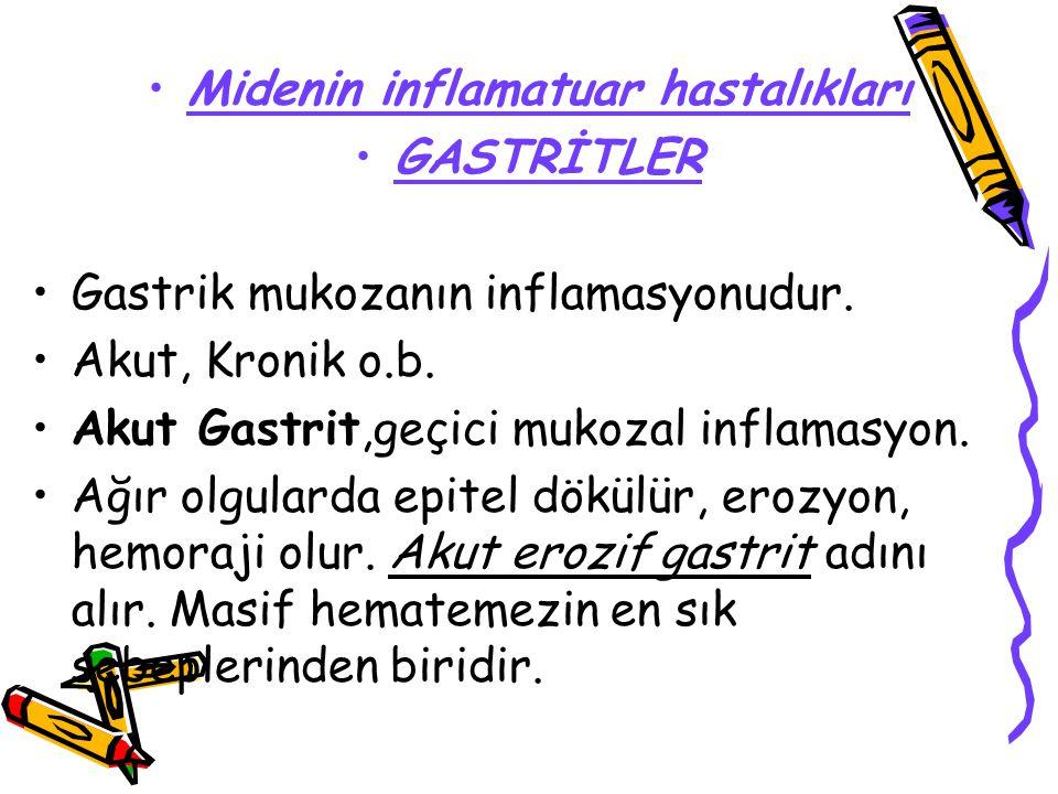 Midenin inflamatuar hastalıkları GASTRİTLER Gastrik mukozanın inflamasyonudur. Akut, Kronik o.b. Akut Gastrit,geçici mukozal inflamasyon. Ağır olgular