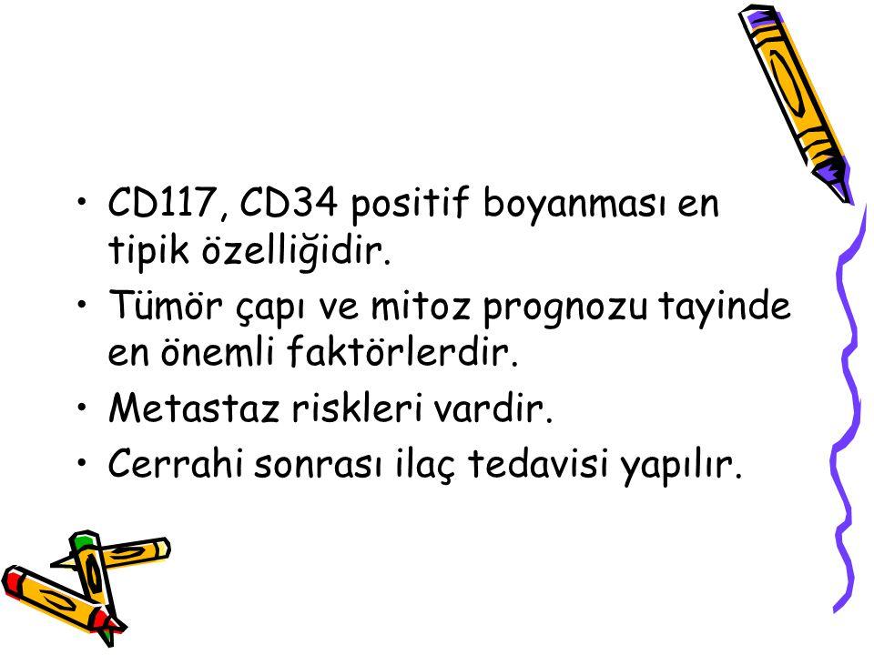 CD117, CD34 positif boyanması en tipik özelliğidir. Tümör çapı ve mitoz prognozu tayinde en önemli faktörlerdir. Metastaz riskleri vardir. Cerrahi son